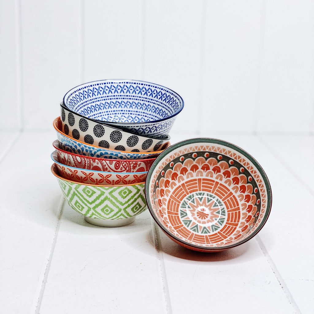 Moroccan Style Mini Bowl – perfect for kids cereal, dipping sauces, dips, nuts, snacks and great for a grazing table - Moroccan Style Dinnerware - Mix & Match - 12cmW x 5cmH - wide range of colours and patterns - Commercial Grade quality - Patterns Picked at random | Bliss Gifts & Homewares - Unit 8, 259 Princes Hwy Ulladulla - Shop Online - 0427795959, 44541523 - Australia wide shipping – AfterPay Available