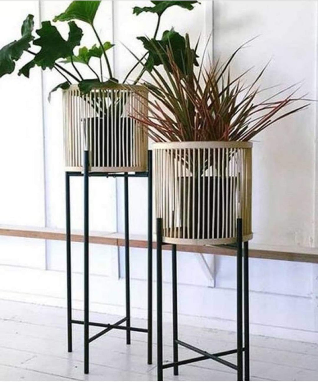 Rhythm Plant Stands - metal base - stunning natural bamboo basket - Large: 35x100cm - Small: 35x80cm - Basket size: 31x31cm | Salt&Pepper |Bliss Gifts & Homewares - Unit 8, 259 Princes Hwy Ulladulla - Shop Online & In store - 0427795959, 44541523 - Australia wide shipping