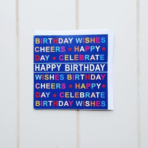 "Navy Celebration Happy Birthday Greeting Card. Navy bright coloured Happy Birthday card that inside says ""Happy Birthday to you!"". Perfect for any person of any age, write your special birthday inside. Grab a present from our online store while you're here! 