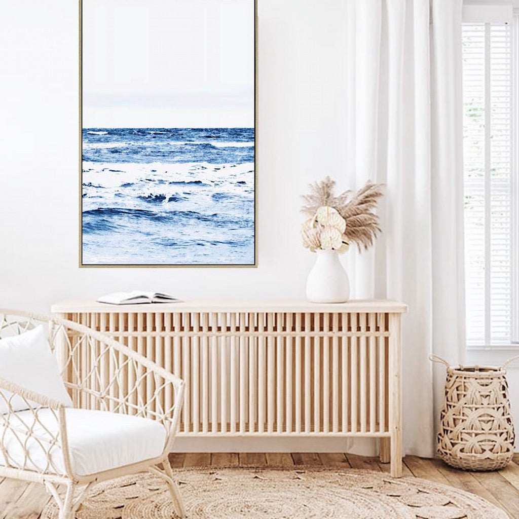 October Beach Canvas – 120 x 80cm - Transform your space with the calming blue tones of our October Beach Canvas - With its clean sight line to the horizon, and rolling waves, this piece is will take you back to days lying in the water and drifting with the gentle lull of the ocean - shadow box floating frame effect for a stylish finish | Bliss Gifts & Homewares - Unit 8, 259 Princes Hwy Ulladulla - Online Retail Gift & Homeware Shopping - 0427795959, 44541523 - Australia wide shipping