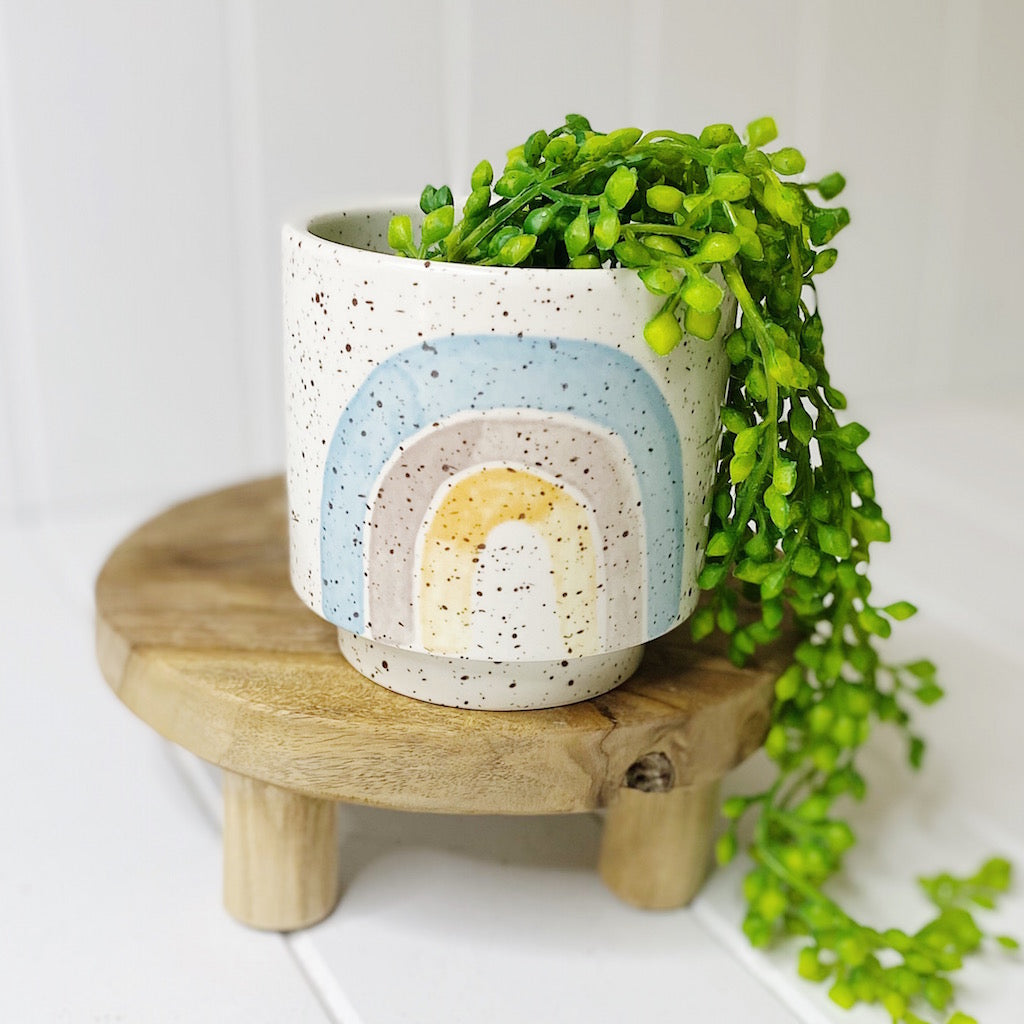 Our Somewhere Over The Rainbow Pots in Small are perfect to brighten your desk, kitchen, bedroom or bathroom. Great ceramic pot that can also be used as a pen holder, utensil holder or as a dried flower vase. Perfect to add an infusion of colour to your home decor! Available in 4 patterns.| Bliss Gifts & Homewares | Unit 8, 259 Princes Hwy Ulladulla | South Coast NSW | Online Retail Gift & Homeware Shopping | 0427795959, 44541523