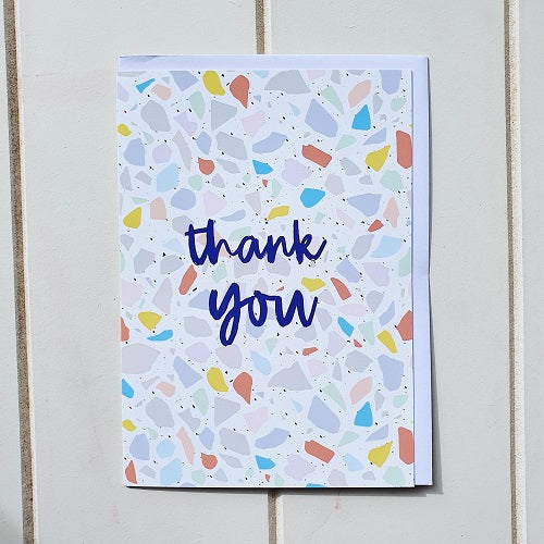 Thank you coloured Terrazzo Greeting Card, Blank inside perfect for writing a special message to just say Thank you for being you or express your appreciation. | Bliss Gifts & Homewares | Unit 8, 259 Princes Hwy Ulladulla | South Coast NSW | Online Retail Gift & Homeware Shopping | 0427795959, 44541523