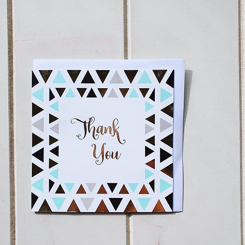 Thank you triangle greeting card. A simple blank square card that says 'Thank You'. Perfect for writing a sentimental message that says I appreciate you! | Bliss Gifts & Homewares | Unit 8, 259 Princes Hwy Ulladulla | South Coast NSW | Online Retail Gift & Homeware Shopping | 0427795959, 44541523