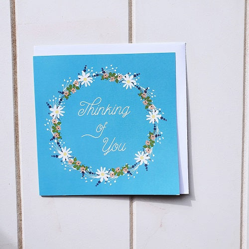 'Thinking of You'. A lovely blue s'Thinking of You blue wreath greeting card'. A lovely blue square blank card inside. Perfect for a special handwritten message that says you're in my thoughts.  Bliss Gifts & Homewares | Milton | Online| 0427795959 | Afterpay available