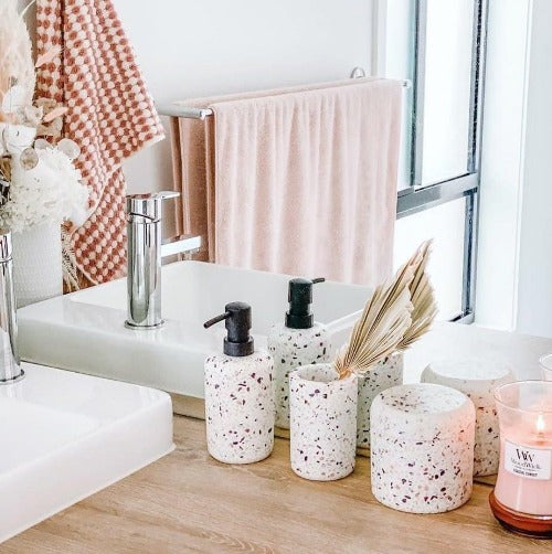Invite an earthy bathroom aesthetic with this white VENICE toiler brush from Salt&Pepper''s SUDS collection. Made from durable resin in a delightfully sleek shape, this piece features a matte finish with an on-trend terrazzo inlay, complemented by a matte black handle. | Stockists of Salt & Pepper | Bliss Gifts & Homewares | Milton | Online | 0427795959 | Afterpay available