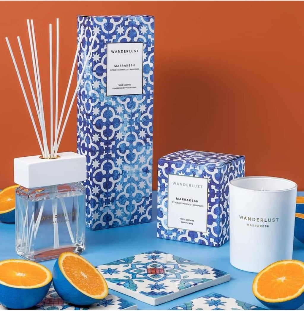 From Salt&Pepper''s WANDERLUST collection is this colourfully packaged 300ml MARRAKESH diffuser and cotton stick set filled with a mysteriously distinct blend of citrus, cedarwood and ambergris. European-sourced essential oils that will infuse a touch of Marrakesh into any space.| Bliss Gifts & Homewares | Unit 8, 259 Princes Hwy Ulladulla | South Coast NSW | Online Retail Gift & Homeware Shopping | 0427795959, 44541523