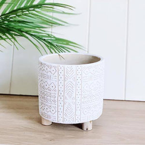 Pots & Planters | White Tribal Pot | 14 x 14cm | Bliss Gifts & Homewares | Milton | Online & In-store | 0427795959 | Afterpay available
