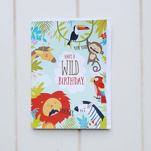 Have a Wild Birthday Greeting Card. Enjoy giving this to the wild child or the little animal on the block. Show off the animal within with this African Safari Birthday Card. | Bliss Gifts & Homewares | Unit 8, 259 Princes Hwy Ulladulla | South Coast NSW | Online Retail Gift & Homeware Shopping | 0427795959, 44541523