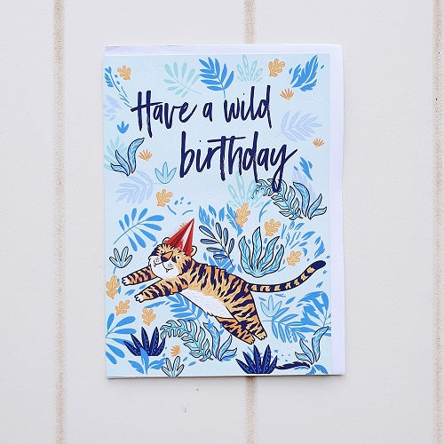 "Wild Tiger Birthday Greeting Card. ""Have a Wild Birthday"" with this king of the Jungle birthday card. Perfect for someone who loves to Roarrr! 