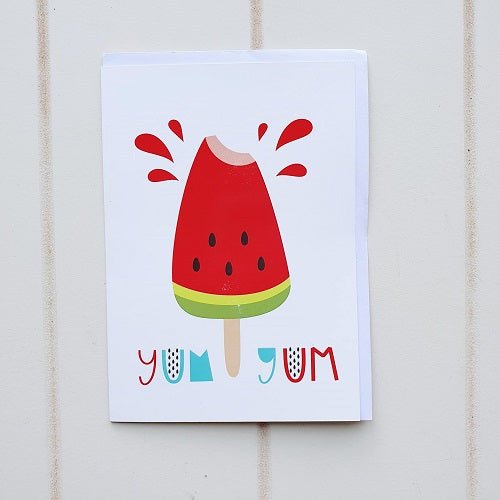 Yummy Watermelon Popsicle Birthday Greeting Card. Yum Yum Yum! Say Happy birthday to your favourite fruit lover on their birthday with this splash of watermelon. | Bliss Gifts & Homewares | Unit 8, 259 Princes Hwy Ulladulla | South Coast NSW | Online Retail Gift & Homeware Shopping | 0427795959, 44541523
