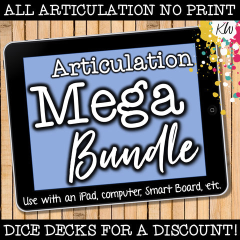 NO PRINT Articulation Speech Therapy Bundle (17 digital articulation games)