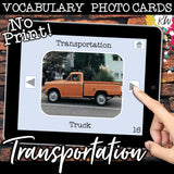 NO PRINT Transportation Vocabulary Flashcards