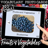 NO PRINT Fruits and Vegetables Vocabulary Flashcards
