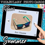 NO PRINT (Digital) Vocabulary Photo Cards - 20 Themed sets!