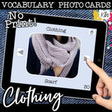 NO PRINT Clothing Vocabulary Flashcards