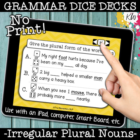 NO PRINT (Digital) Irregular Plural Nouns Game