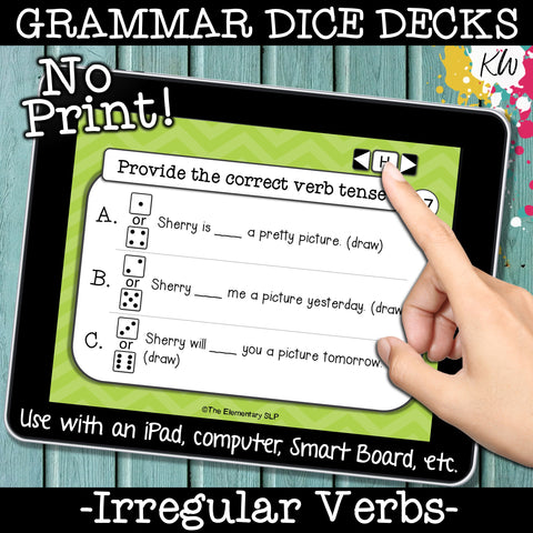 NO PRINT (Digital) Irregular Verbs Game: Irregular Past Tense & More
