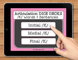 NO PRINT Speech Therapy Articulation K Game