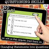 NO PRINT (Digital) Asking Questions Speech Therapy Game -Interrogative Reversals