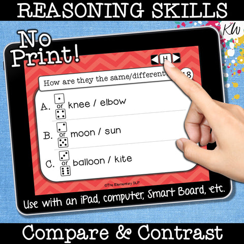 NO PRINT (Digital) Compare and Contrast Speech Therapy Game