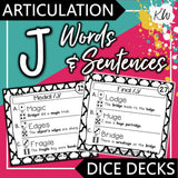 Articulation /J/ DICE DECKS The Elementary SLP Materials Shop