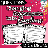 Changing Statements into Questions DICE DECKS The Elementary SLP Materials Shop