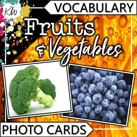 Fruits and Vegetables PHOTO CARDS The Elementary SLP Materials Shop