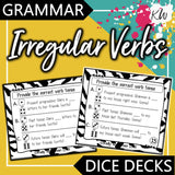 Irregular Verbs DICE DECKS The Elementary SLP Materials Shop