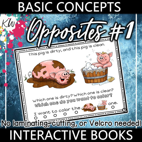 Opposites Interactive Book #1 The Elementary SLP Materials Shop