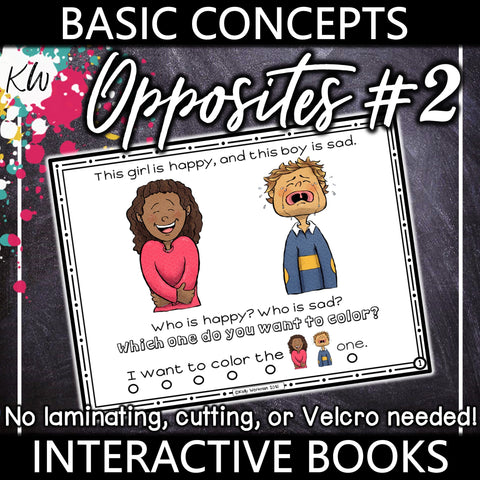 Opposites Interactive Book #2 The Elementary SLP Materials Shop