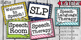 Speech Therapy Decor: Bright Stripes Speech Room Decor The Elementary SLP Materials Shop