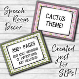 Speech Therapy Decor: Cactus Speech Room Decor The Elementary SLP Materials Shop
