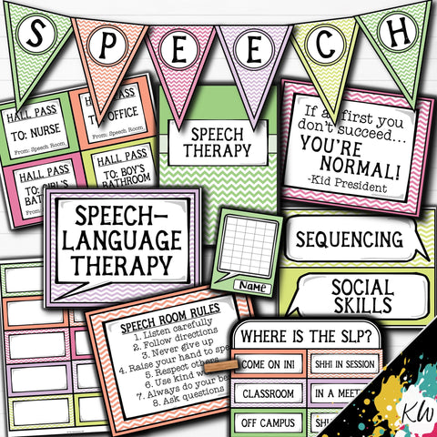 Speech Therapy Decor: Pastel Chevron Speech Room Decor The Elementary SLP Materials Shop