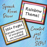 Speech Therapy Decor: Rainbow Speech Room Decor The Elementary SLP Materials Shop