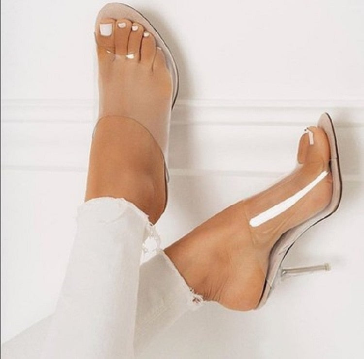 Open Toe glass Heels