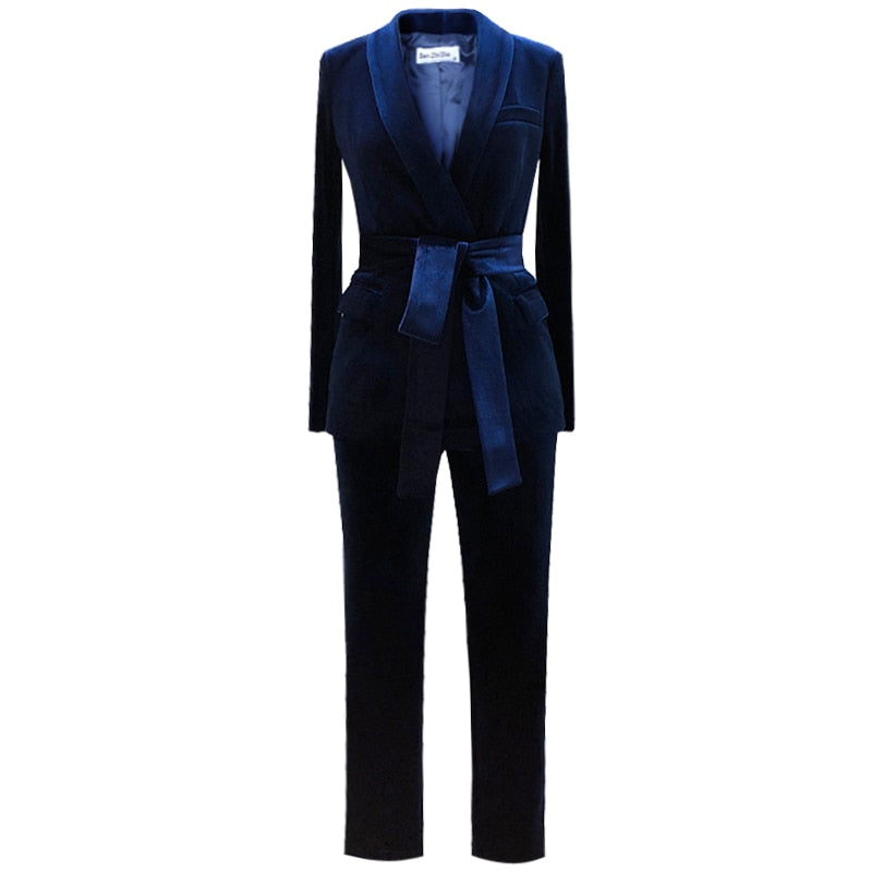 British two-piece velvet suit