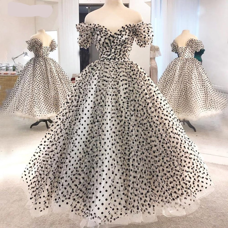 Polka Dots Tulle Prom Dresse