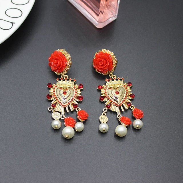 Baroque bleeding heart earrings