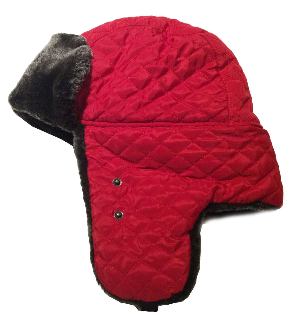 Red Trapper Hat with Faux Fur and Face Mask