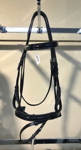 Alans Black Leather Bridle with Patent Brow and Nose