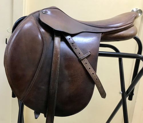 "Bates Jumping Saddle - 17 1/2"" mounted with 54 inch leather girth"