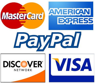 picture of payment methods supported. Master Card, American Express, Paypal, Discover Network and Visa.
