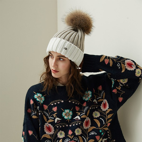 Cotton Beanie | Fur Pompom