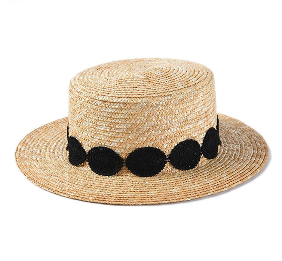 Floral Black Band Straw Boater Hat