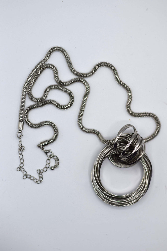 New Silver Necklace with Silver Amulet 35 Inches long