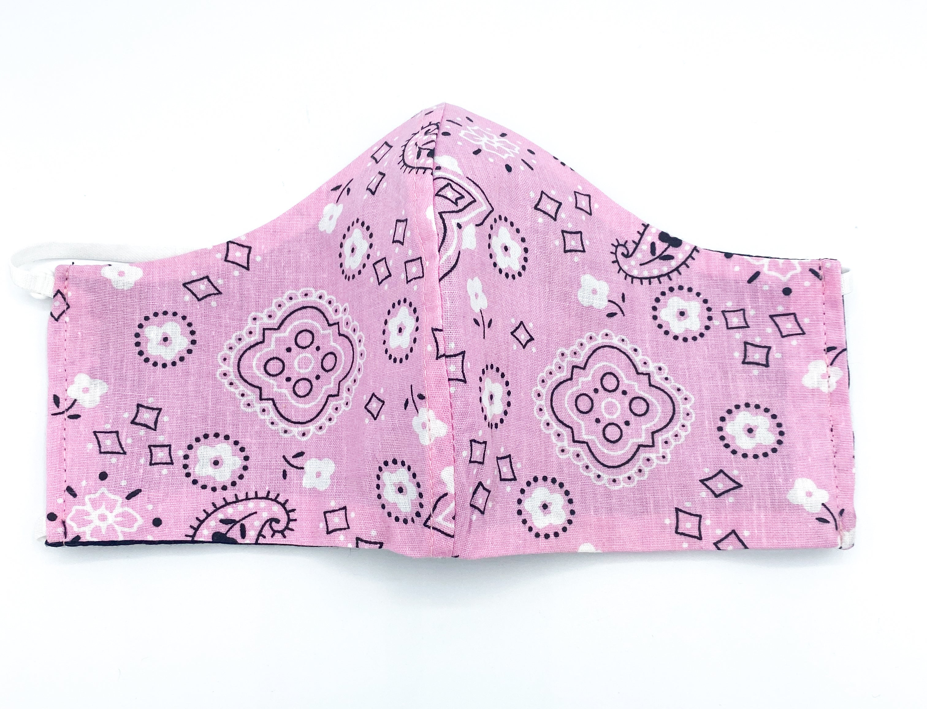 Reversible Pink Bandana - 2 Masks for the Price of 1! Pink and Black
