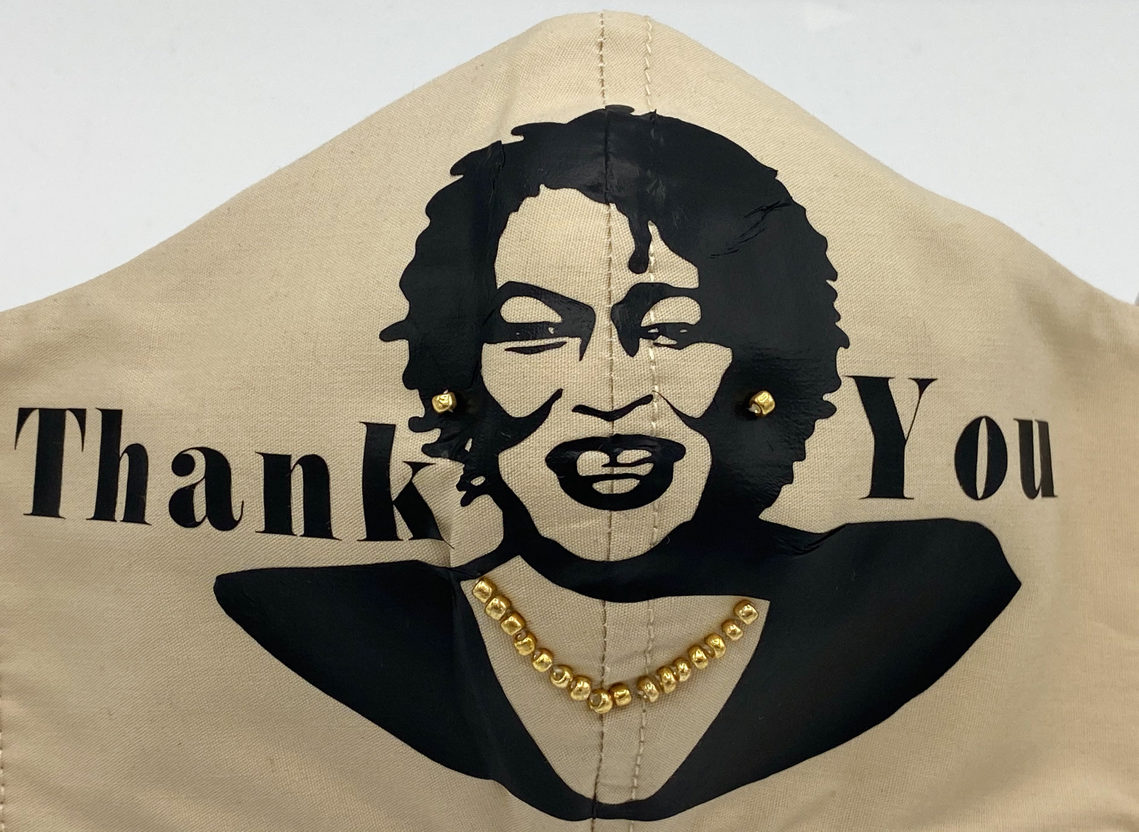 "Stacey Abrams - ""Thank You"" with Gold Bead Earrings and Necklace"
