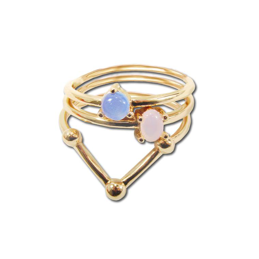 Opal Glass Plus Size Ring Set