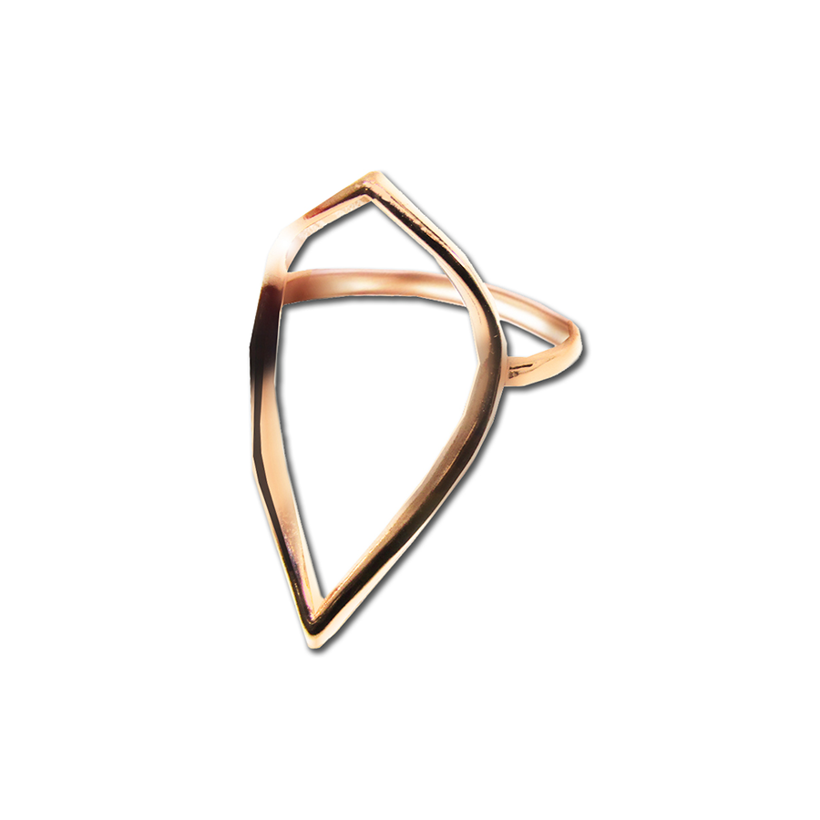 Open Teardrop Cut-Out Plus Size Rose Gold Ring