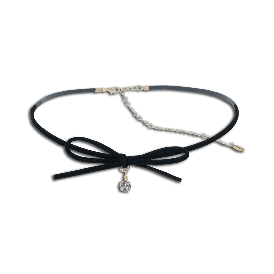 Plus Size Black Bow Choker With Crystal Drop